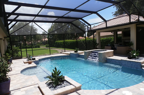 Orlando daytona beach in ground swimming pool builders for Florida house plans with pool